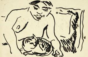 22-Max-Pechstein,-Akt-mit-Katze,-Postkarte-an-Emil-Nolde,-29