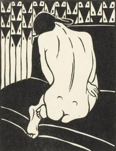 23-Ernst-Ludwig-Kirchner,-Kauernder-Akt,-vom-Rücken-gesehen,-Holzschnitt-1905