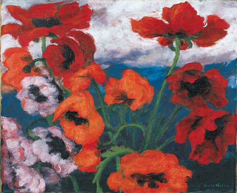 """Großer Mohn (rot, rot, rot)"""", Gemälde 1942, ©Nolde Stiftung Seebüll"""
