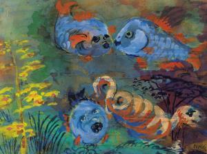 17.--Emil-Nolde,-Blaue-Fische-im-Aquarium,-Aquarell-1938-45,-©Nolde-Stiftung-Seebüll