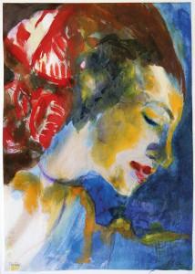19-Emil-Nolde-Frauenbildnis-Jolanthe-Nolde-Profil-braunes-Haar-Aquarell-©-Nolde-Stiftung-Seebüll