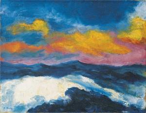 Emil Nolde, Hohe See - bewegte Wolken, Gemälde 1948, © Nolde Stiftung Seebüll