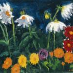 Kalendula und weiße Dahlien, Gemälde 1951