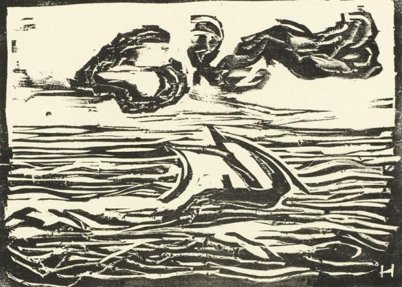 24-Erich-Heckel,-Segelboot,-Holzschnitt-1907